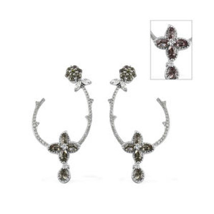 Color Change Garnet, Zircon Earrings in Platinum Over Sterling Silver 3.53 ctw