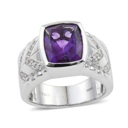Amethyst, Zircon Ring in Platinum Over Sterling Silver (Size 13.0)