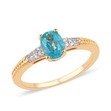 1.55 CTW Paraiba Topaz and Zircon Ring Size 9