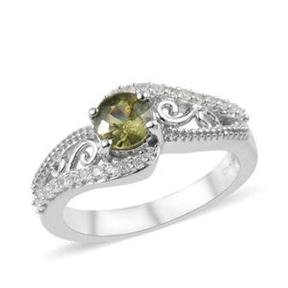 Demantoid Garnet and Zircon Ring.  Size 8.  0.85 CTW.