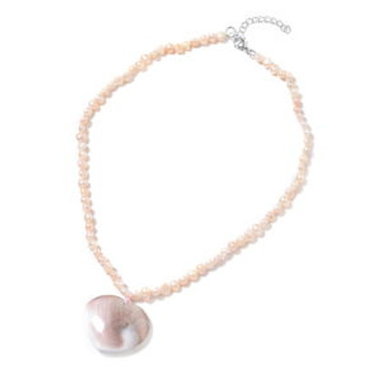 Fossil Shell and Freshwater Pearl - Peach Heart Necklace 18 Inch