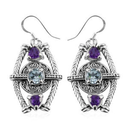 3.50 CTW Swiss Blue Topaz and Amethyst Earrings in Sterling Silver