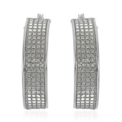 Finely Textured Hoop Earrings in Sterling Silver 3.50 Grams