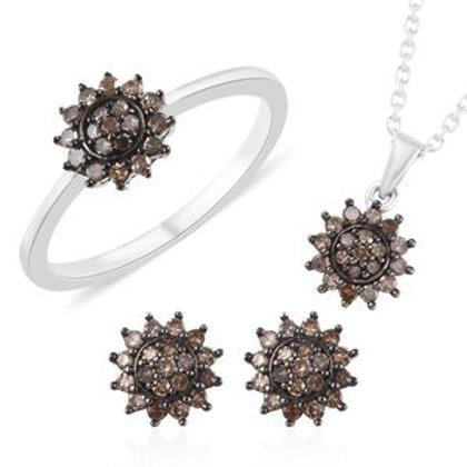 1 ctw Natural Champagne Diamond Earrings and Ring (6, 7) and Pendant Necklace