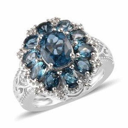 AA Premium London Blue Topaz, Natural White Zircon Ring.  Size 9.  3.67 CTW