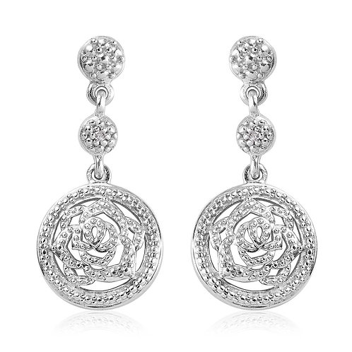 Diamond Accent Rose Earrings in Platinum Over Sterling Silver