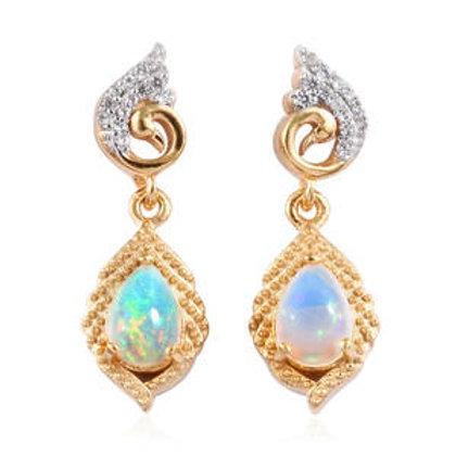 Ethiopian Welo Opal, Zircon Earrings.  1.02 CTW