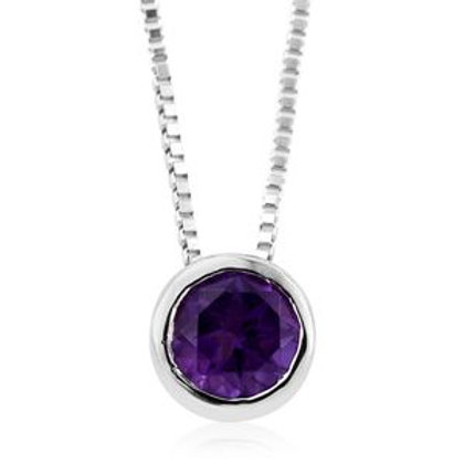 0.43 ctw Amethyst Pendant Necklace in Sterling Silver