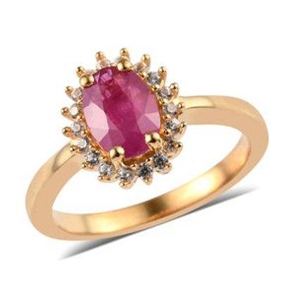 1.24 ctw Burmese Ruby and Zircon Ring