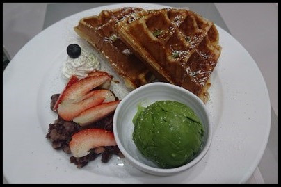 waffle with red bean and matcha ice cream