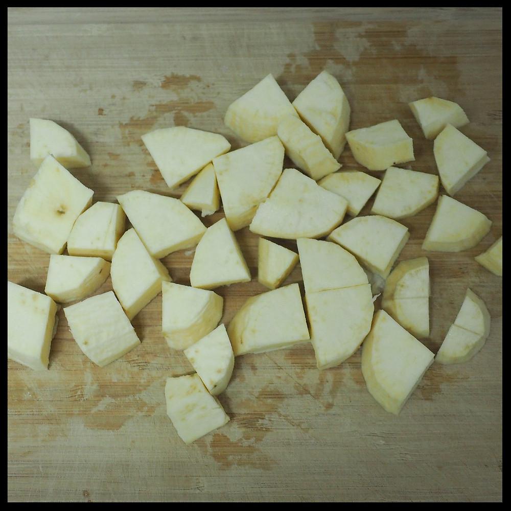 peel and chop potatoes