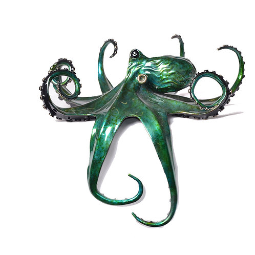 Aquamarine bronze octopus
