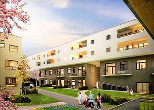 Entlang der Peter-Rosegger-Straße wurden durch die GSL im zweiten und dritten OG 37 betreute Wohnungen für SeniorInnen errichtet.