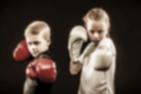 Kids  boxing learn how to defend themselves.