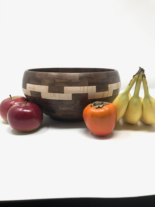 069 - Segmented Walnut and Curly Maple Fruit/Salad Bowl