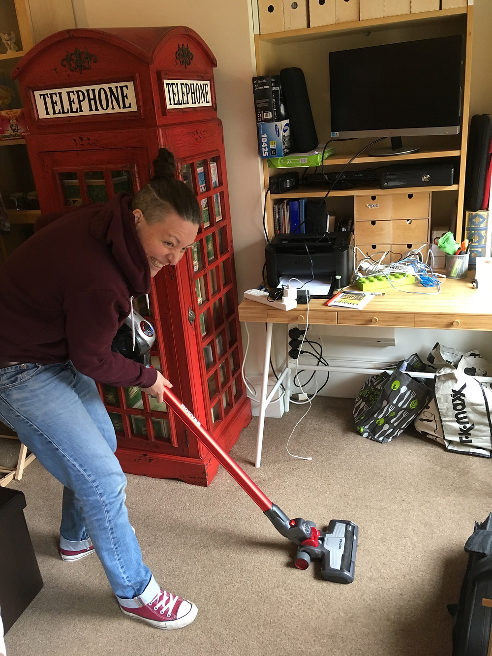 A humorous photo of me hoovering (inspired by Queen song 'I want to break free')