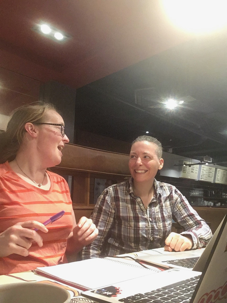 Humorous photo of Tracy and me hard at work (haha) on the website inside Tinderbox