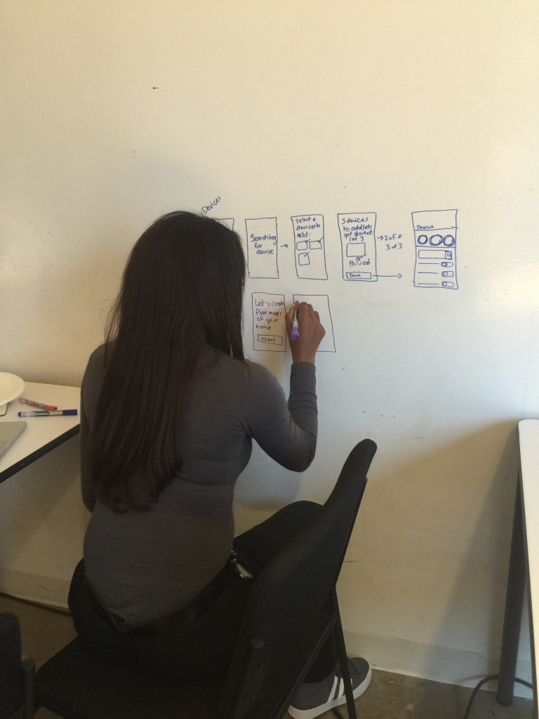 Ayannah sketching a product concept on the whiteboard