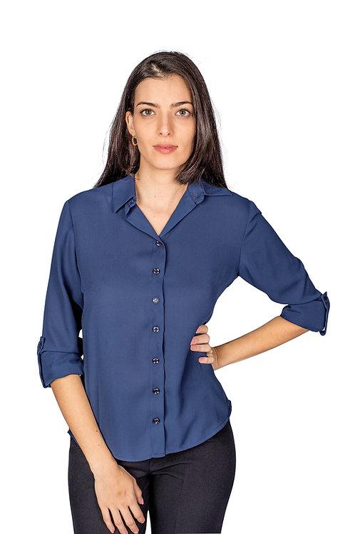 Camisa Tecido Fluido, Manga Longa, Modelagem Solta