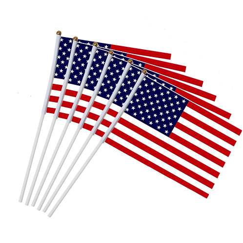 6pcs USA Stick Flag, American Stick Flags Banner