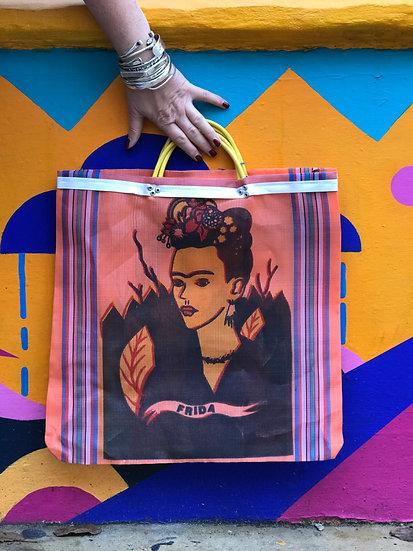Mexican Market Bag - Frida Kahlo Tangerine