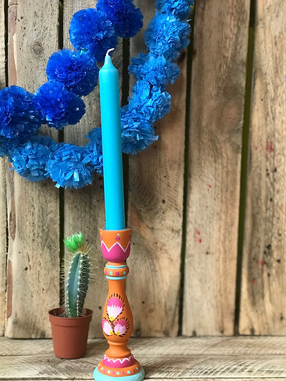 Orange and Pink Folk Art Candlestick