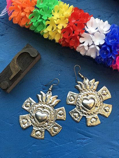 Mexican Tin Earrings - Large Silver Sacred Heart