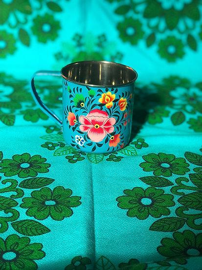Teal Floral Enamel Kashmir Mug