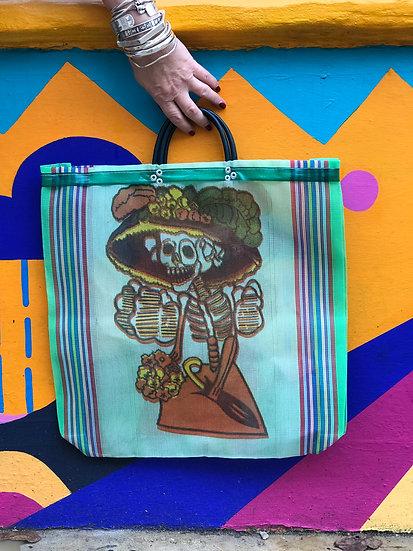 Mexican Market Bag - La Catrina green