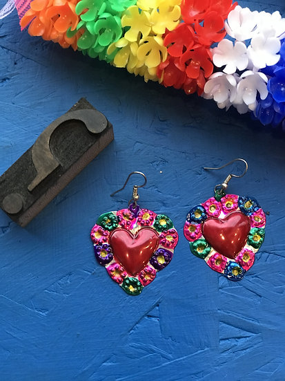 Mexican Tin Earrings - Colorful Flower Sacred Heart