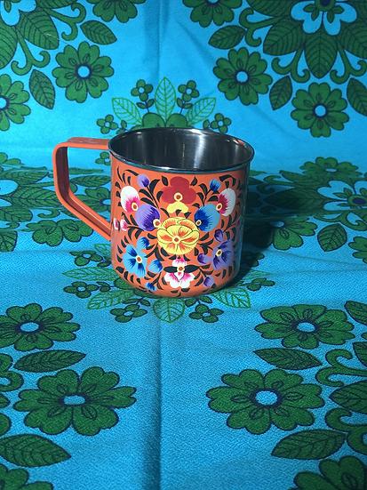Burnt Orange Floral Enamel Kashmir Mug