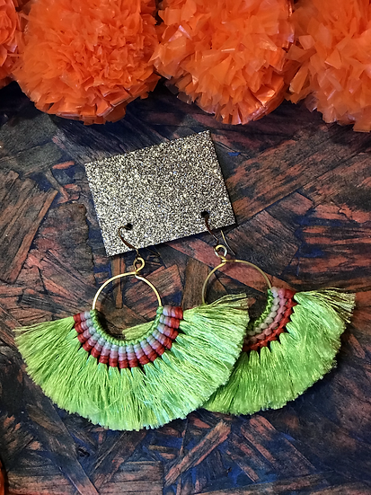 Lime Green Silk Fan Earrings