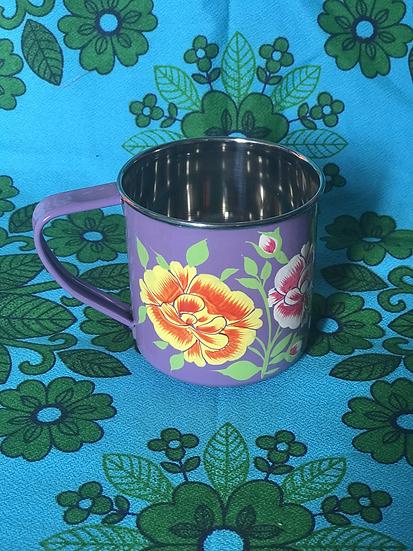 Lilac Floral Enamel Kashmir Mug
