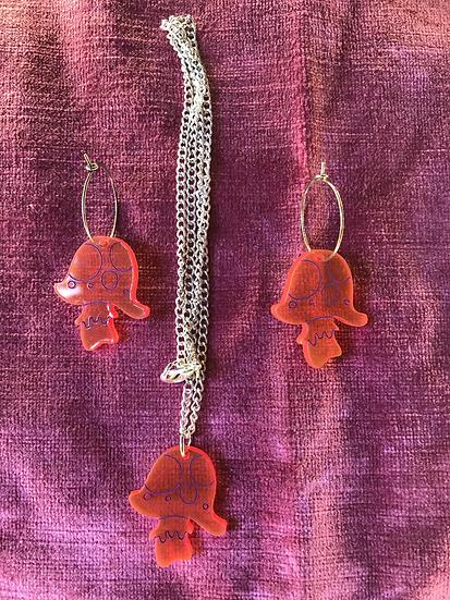 Trippy mushroom jewellery set