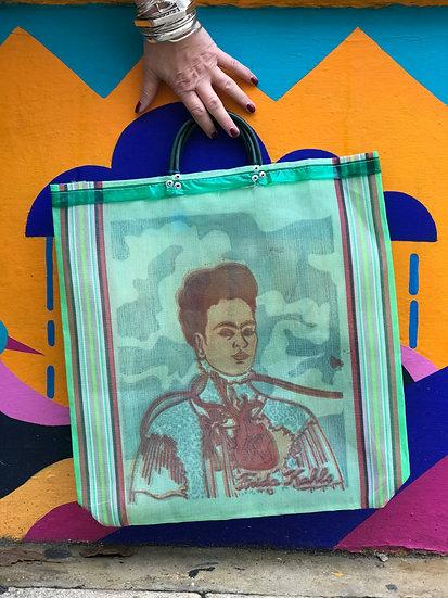 Mexican Market Bag - Frida Kahlo Green