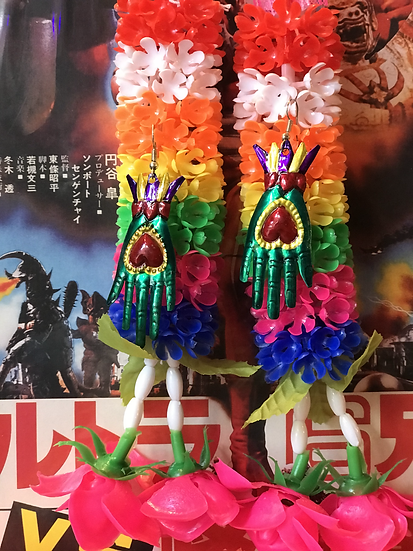 Mexican Tin Earrings - Green Hands Milagros