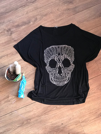 Embroidered Skull Baggy Tee