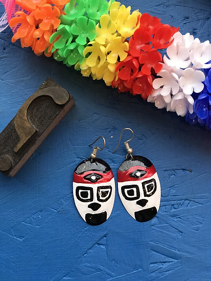 Mexican Tin Earrings - Black and Red Luchador