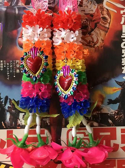 Mexican Tin Earrings - Super Colourful Sacred Heart