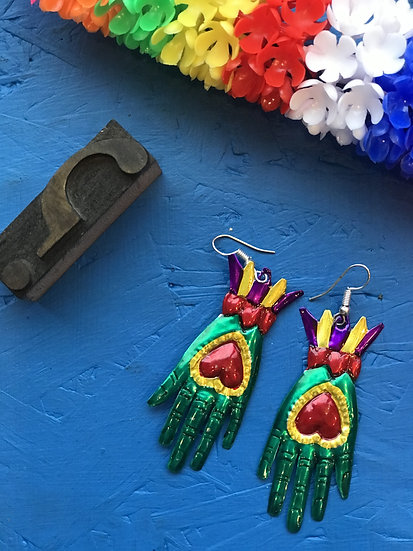 Mexican Tin Earrings - Green Hands