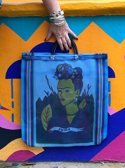 Mexican Market Bag - Frida Kahlo Blue