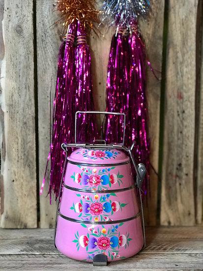 Pink Floral Enamel Kashmir Tiffin