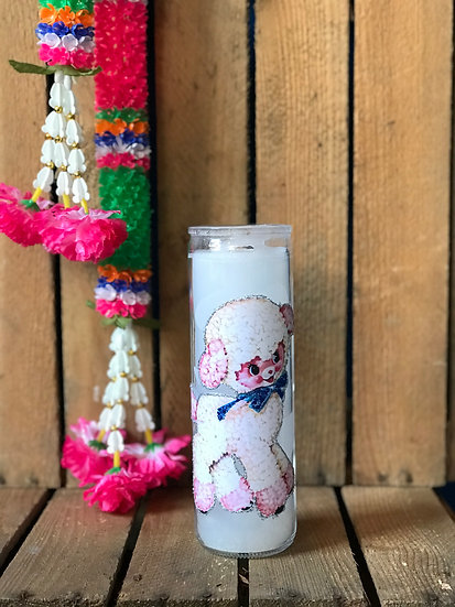 7 Day White Glitter Kitschy Lamb Candle