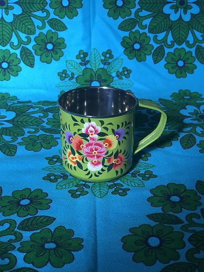 Light Green Floral Enamel Kashmir Mug