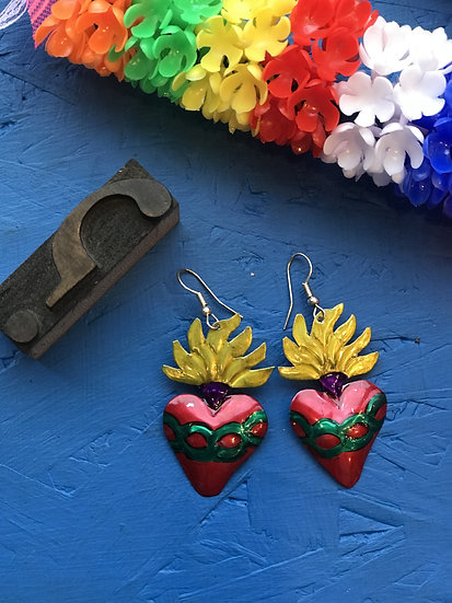 Mexican Tin Earrings - Flaming Heart