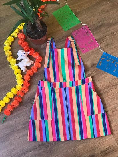 Rainbow Stripe Pinafore Twill - Run & Fly