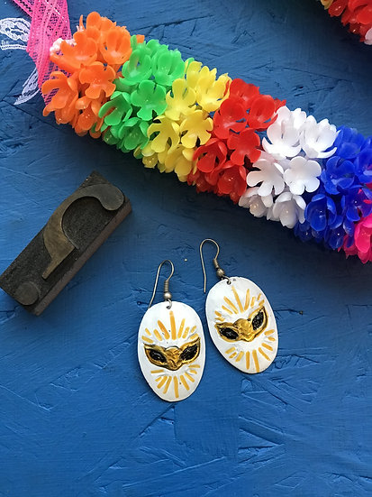 Mexican Tin Earrings - Gold and White Luchador