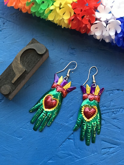 Mexican Tin Earrings - Green Hands, Slightly Smaller