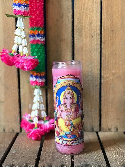 7 Day Pink Glitter Ganesha Candle