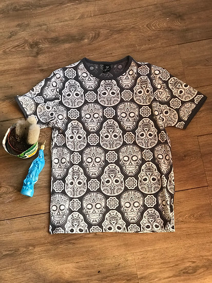 Dark Grey All Over Skull Tee
